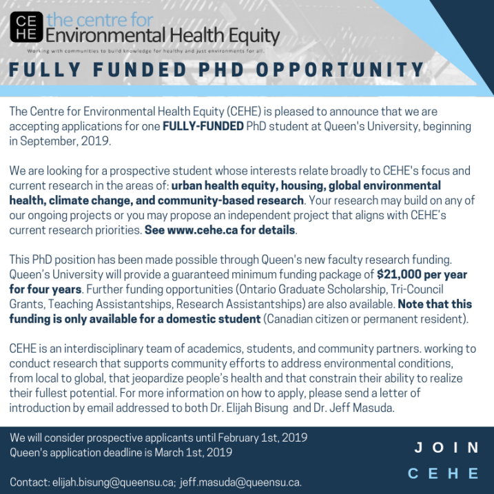 The Centre for Environmental Health Equity – Working with